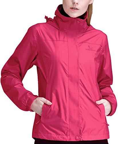 CAMEL CROWN Womens Waterproof Rain Jacket Lightweight Hooded Windbreaker Windproof Rain Coat Shell for Outdoor Hiking Traveling Red Hibiscus XXXL