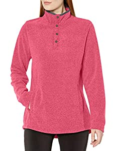Charles River Apparel Women's Bayview Fleece, red Heather/Charcoal, M