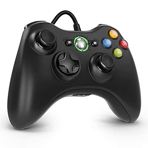 Diswoe Xbox 360 Controller, Game Controller USB Gamepad Gaming Joystick Für Xbox 360, Verbessertes Design Ergonomischer Kabelcontroller für Xbox 360 Slim und PC mit Windows XP/Vista / 7/8 / 8.1/10
