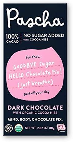Pascha Organic Sugar Free Keto Dark Chocolate Bars UTZ Gluten Free Non GMO No Added Sugar 100 product image