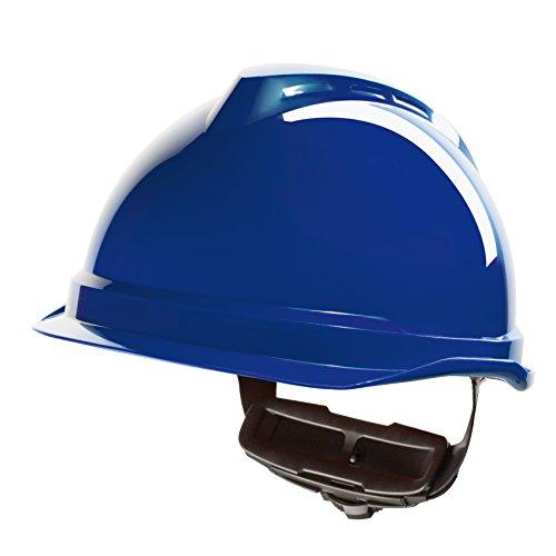 Casco de Protección MSA V-Gard 520 con Ajuste por Trinquete FasTrack - Casco de Trabajo Casco de Seguridad Casco de Construcción, Color: Azul