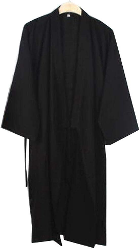Japanese Style Men Thin Cotton Bathrobe Pajamas Kimono Skirt Gown-D04 Black