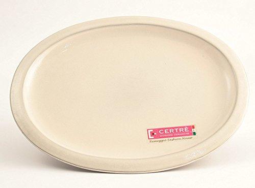 CERTRE Sottovaso Ovale in gres Ceramica Art.S6000- cm.33x25x2h.- Colore Panna Smaltato