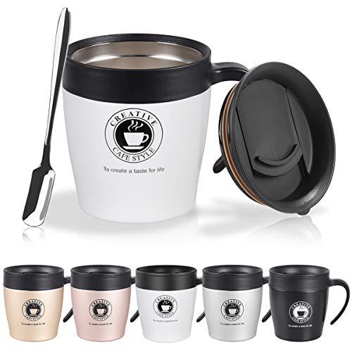 Vabaso 330 ML Thermobecher, Kaffeebecher mit BPA-frei Deckel, Griff und Kleine Kaffeelöffel - Doppelwand Isolierung - Edelstahl Trinkbecher für Tee, Kaffee, Champagner, Bier, Weiß