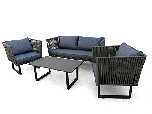 Nuevo Diseño de Conjunto Muebles Exterior Sofa de 2 Plazas 2 Sillones Super Comodos y Mesa de Centro. Set de Balcon, Patio, Jardin y Aire Libre