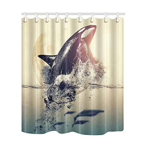 Myrwer2k Wal Duschvorhang Orca Duschvorhang, wasserdicht, Polyester