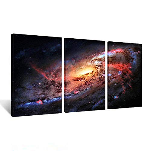 Kreative Arts - Space and Universe Stretched Canvas Print - Space Landscape Paintings Wall Art Decor Universe Galaxy Stars 3 Piece Picture Print on Canvas for Modern Home Decoration Ready to Hang