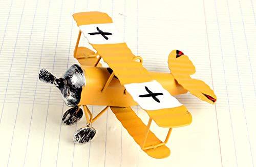 Sculpture beeldje vliegtuig figuren strijkijzer retro metalen vliegtuig model vintage Glider dubbele deken miniatuur artwork voor woonkamer tafel accessoires Kerstmis cadeau kantoor bar ornamenten geel