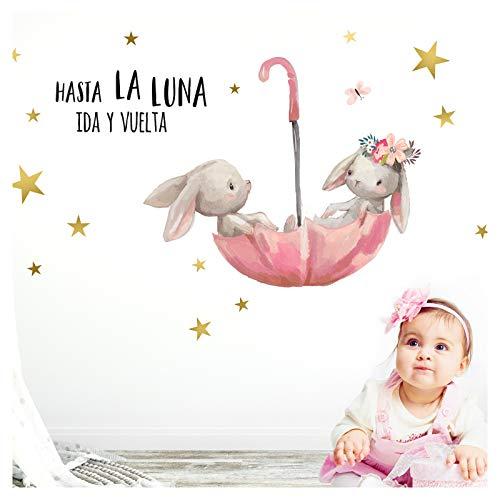 Little Deco Pegatina de Pared hasta La Luna & conejitos en Paraguas I L - 135 x 80 cm (an x al) I Vinilo Adhesivo Decorativo para Cuartos Cuarto del bebé DL252