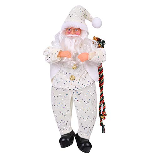 Qchomee Christmas Sitting Figure Santa Claus Doll Novelty Xmas Decor Exquisite Xmas Gifts Home Ornaments Festival Celebration Family Party Indoor Decorations Props White 40cm