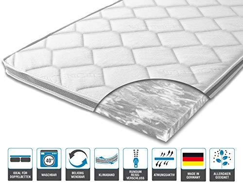 ARBD Matratzenauflage - Topper | Modelle mit 7-12cm Gesamthöhe | waschbarer Bezug mit 3D-Mesh-Klimaband (H3-7 cm, 120 x 200 cm)