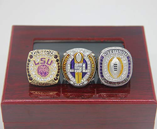 N/H 2019 L' S' U National Playoff SEC Championship Replica Rings Set with Box Size 9 Christmas Ornament Gifts for Men Kids Women Youth Fathers (9, 3 Rings Set)