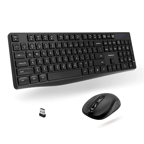 Macally USB Wireless Keyboard and Mouse Combo - 2.4Ghz Full Size Cordless Keyboard and DPI Optical Mouse - Designed for Windows PC with USB Port - Simple Plug & Play Mouse and Keyboard Combo - (Black)