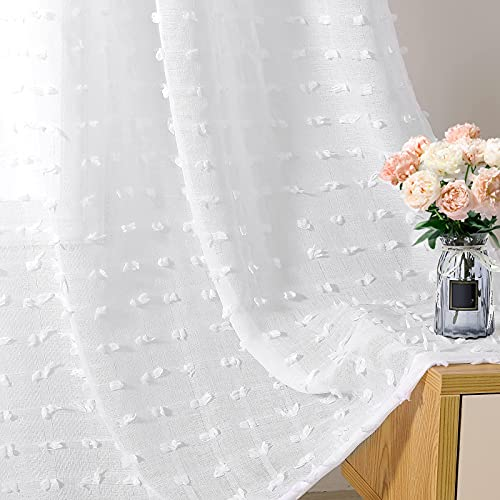 Joywell Gardinen Wohnzimmer Vorhänge Kinderzimmer Schlafzimmer Pompons in Leinen Optik Leinenstruktur Fertigstores Transparent Vorhang für große Fenster Doris Weiß 245x140 cm 2er Set