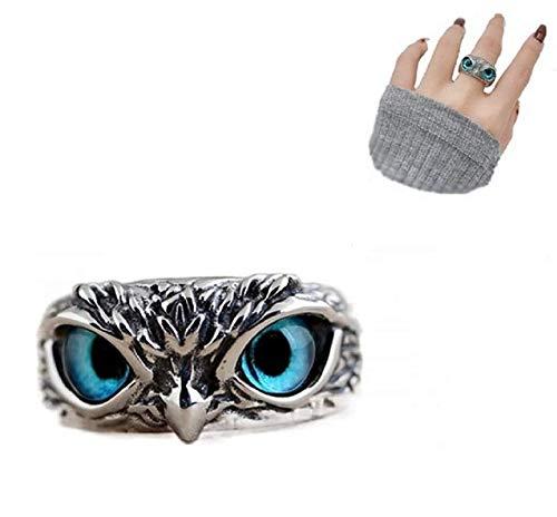 Anillo de búho de ojo de demonio de plata de ley 925, anillo de búho ajustable abierto Retro, anillo de diseño único de animal lindo regalo de joyería