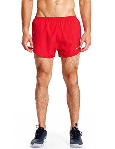BALEAF Men's 3 Inches Running Shorts Quick Dry Gym Athletic Shorts Red Size L