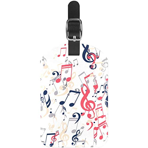 Luggage Tags Colored Music Notes Leather Travel Suitcase Labels 1 Packs
