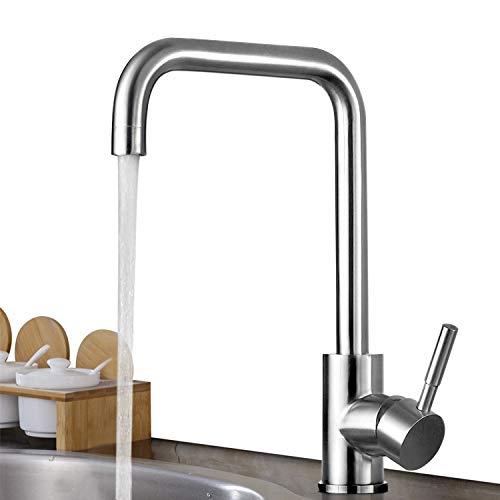 BONADE Niederdruckarmatur Küche Spültischarmatur 360° Schwenkbare Küchenarmatur Edelstahl Wasserhahn Einhandmischer Spülbecken Armatur für Küche Waschbecken (mit 3 Anschlußschläuchen)