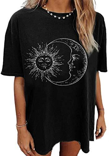 datasy Camisetas Mujer Manga Larga con Patrón de el Sol y la Luna Blusas Invierno Cuello Redondo Camisa Suelta Bonita Ropa Mujer Invierno Moda Negro L