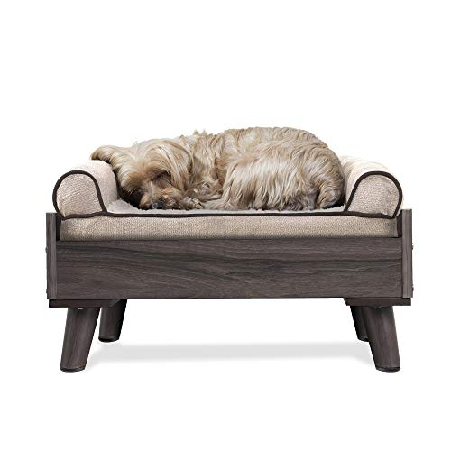 Furhaven Pet Dog Bed Frame – Mid-Century Modern Style Bed Frame Furniture for Pet Beds and Mattresses, Gray Wash, Small