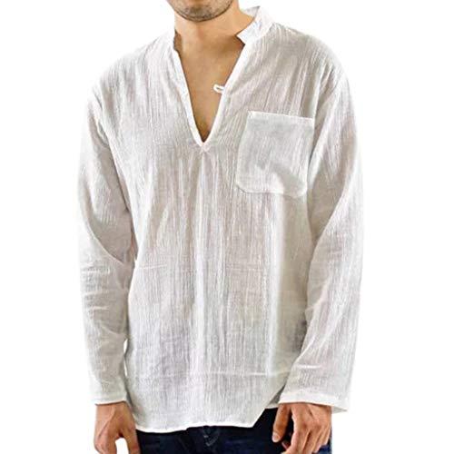 DNOQN Polo Shirt Männer Langes Sportshirt Männer Vintage Atmungsaktive Dünne V-Ausschnitt Solide Lose Brusttasche T Shirts Blusen L