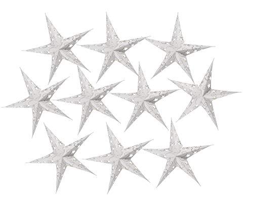 Guru-Shop 10 Stk. Stern Lichterkette, Papier Ministern 20 cm Set, Faltbar - Natur, Papiersterne 20 cm für Lichterketten