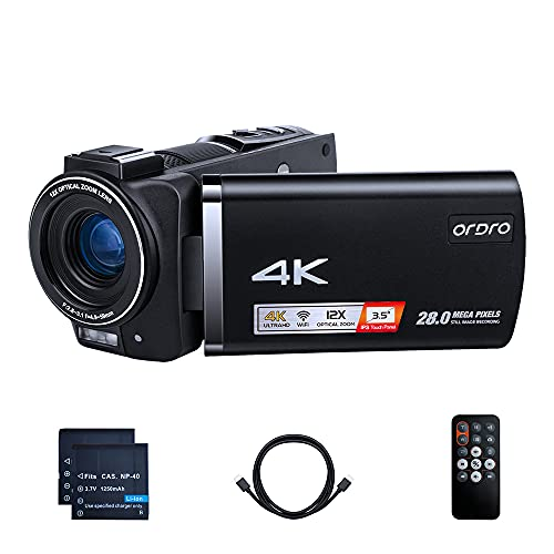 Livestream Camcorder 4K ORDRO Video Camera 12X Optical Zoom WiFi Vlogging Camera 3.5'' IPS LCD Webcam Recorder with Remote Control and HDMI Cable