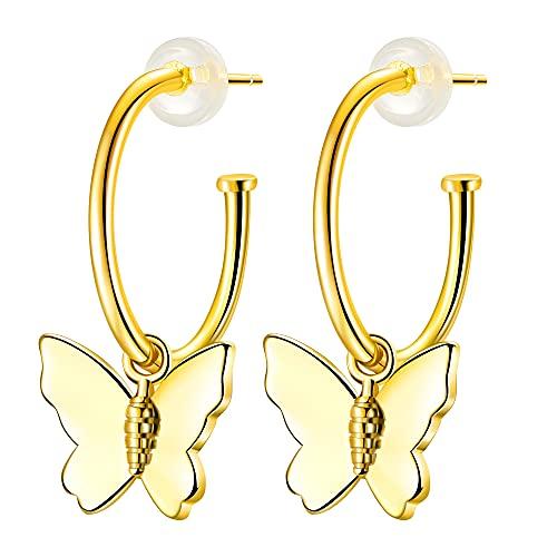 ZENI Orecchini Farfalla da Donna, Placcato Oro Porta Gioielli Donna Regali di Amicizia