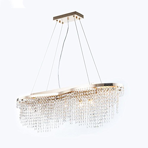 Wundervolle Moderne Kristall Pendelleuchte // Hängeleuchte, Metall in Farbe Gold, zahlreiche Kristall-Behänge, 7-flammig, kürzbar, exkl. E14 60W, 220V-240V