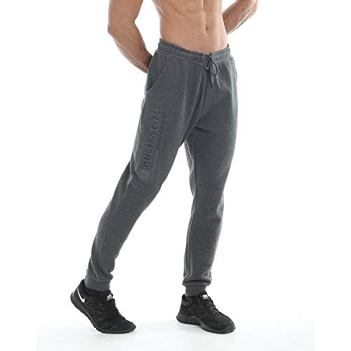 Gold's Gym UK GGPNT090 - Pantalones Deportivos para Hombre, con Detalles en Relieve, Color carbón, Talla XXL
