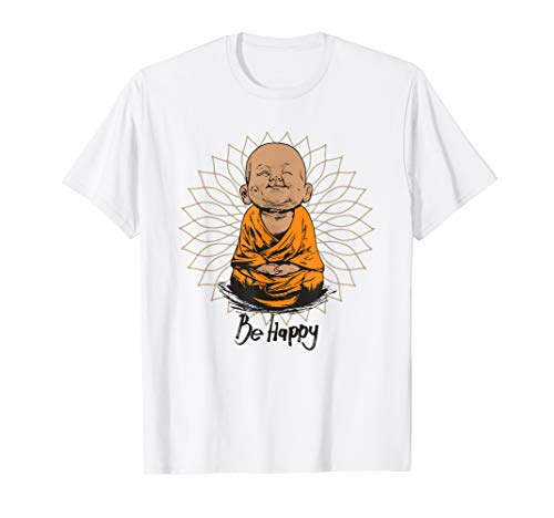 Be Happy shirt Zen Little Buddha tshirt Mandala T-shirt gift