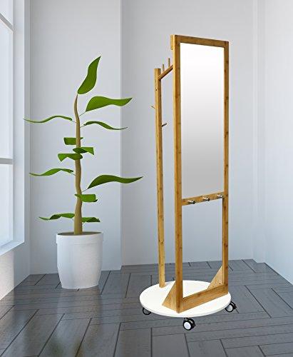 Style home kapstok met spiegel, houten kapstok, 360 graden draaibaar, kledingrek voor hal, woonkamer, slaapkamer