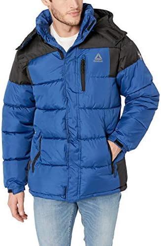 Reebok mens Sporty Heavy Weight Hooded Bubble Jacket