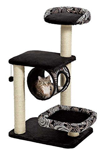 MidWest Homes for Pets Cat Tree | Escapade Cat Furniture, 4-Tier Cat Activity Tree w/Sisal Wrapped Support Scratching Posts & Lounging Cat Look-Out, Black/White Pattern, Medium Cat Tree