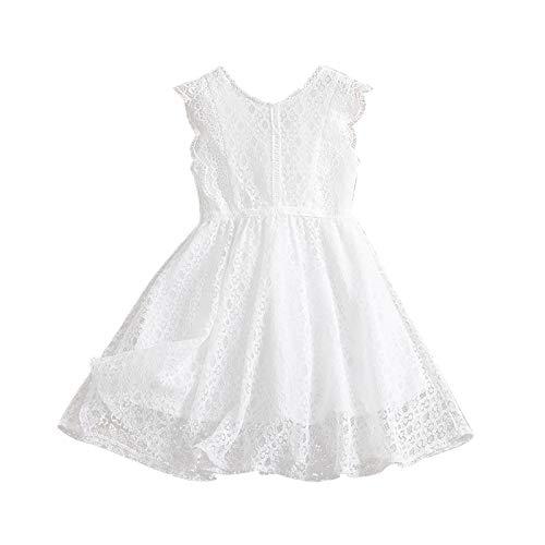 Keepwin Vestido Niña, Blanco Encaje Tutu Vestidos Ninas Fiestas Boda para 3-9 Años Disfraz Princesa Niña Ceremonia Sin Mangas Ropa Bebe Niña Verano Plisado Vestir Infantil Baratos
