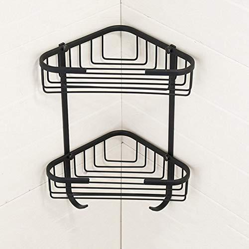 DQYC バスルーム棚、耐久性に優れた銅2層シャワーラックキッチンストレージバスケット、コーナースタンド