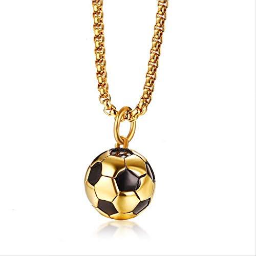 nobranded Collares de fútbol Hombres Joyas Color Dorado Acero Inoxidable Fitness Fútbol Deportes Colgante Cadena 50Cm