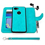 Google Pixel 3a XL Case, Modos Logicos [Detachable Wallet Folio][2 in 1][Zipper Cash Storage][Up to 14 Card Slots 1 Photo Window] PU Leather Purse with Removable Inner Magnetic TPU Case - Teal