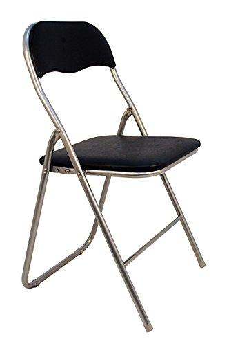 La Silla Española Sevilla - Silla plegable en aluminio con asisento y respaldo acolchados en PVC, Negro, 78x43,5x46 cm