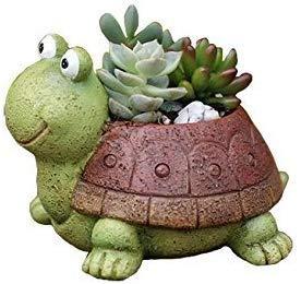Youfui Turtle Plant Pot Flowerpot Animal Garden Pots Resin Succulent Pots Planter Bonsai Plant Holder for Home Office Desk Mini Ornament