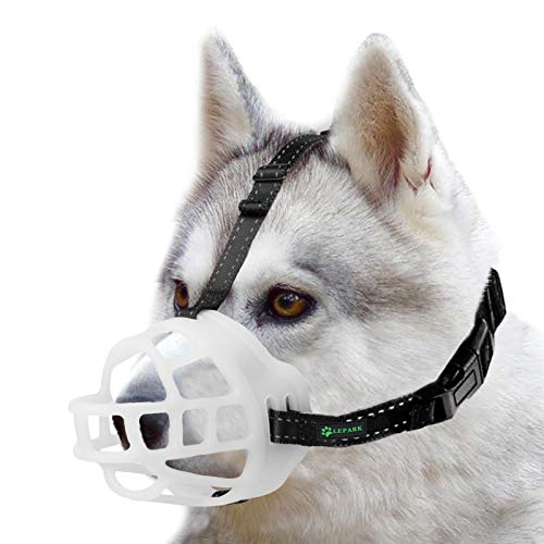 ILEPARK Bozal para Perros - Bozal de Silicona Suave para Perros Pequeños, Medianos y Grandes - Bozal de Cesta Respirable Que Brilla en la Oscuridad. (Talla 4,Blanco)
