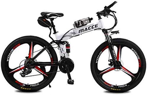 Leifeng Tower Alta Velocidad Bicicleta eléctrica Plegable de la batería de Litio de la montaña de la Bici Adulta Sola Rueda Botella de Agua portátil y cómodo de energía, Blanco, 20km6.8A Resistencia