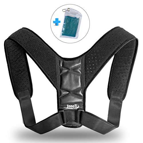 InnoTi Corrector de Postura Espalda para Hombre y Mujer - Soporte para Mantener los Hombros y la Espalda Recta - Ajustable y de Material Suave y Transpirable para el Máximo Confort (NEGRO)