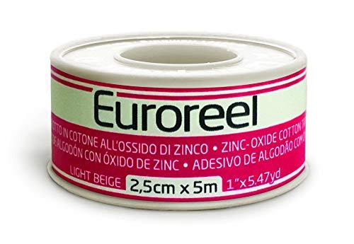 Euroreel (m 5 x cm 2,5) Esparadrapo de Tela con Adhesivo de óxido de Zinc,Altamente Hipoalergénico.