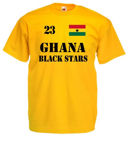 world-of-shirt Herren T-Shirt Ghana Black Stars Trikot Nr.23|gelb XXL