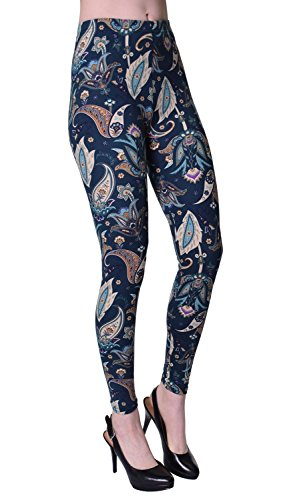 VIV Collection Plus Size Printed Brushed Ultra Soft Leggings (Planting Paisley)