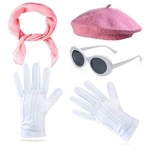 Beelittle vrouwen kostuumaccessoires - Franse baretmuts, pure chiffon sjaal uit de jaren 50, luxe theatrale handschoenen, witte stevige bril retro ovale zonnebril (Roze)
