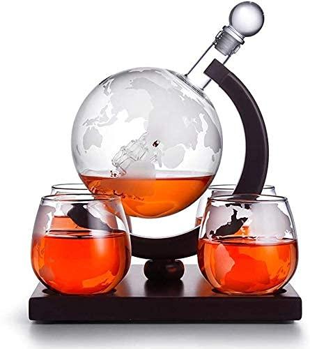 Decantadores Whiskey Decanter Whiskey Decanter Globe Set, Whisky Decanter Globe con 4 gafas de whisky de globo grabado, 850 ml Decantador de globo con tapón de vidrio, para licor, escocés, Borbón, Vod