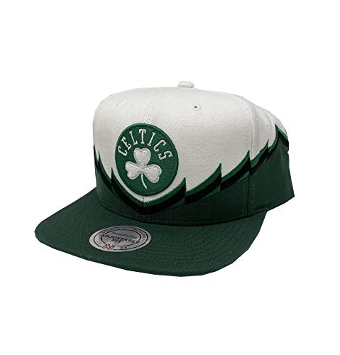 Mitchell & Ness Men's Boston Celtics Snapback Hat (White/Green, One Size)