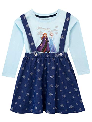 Disney Mädchen Die Eiskönigin Trägerkleid und Top Frozen Blau 116
